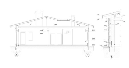 Private house section, detailed architectural technical drawing, vector blueprint Illustration