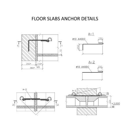 Floor slabs anchor details, construction industry vector