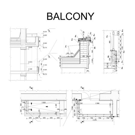 Detailed architectural plan, blueprint of balcony. Vector illustration