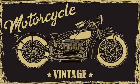 Vintage motorcycle hand drawn vector illustration with lettering