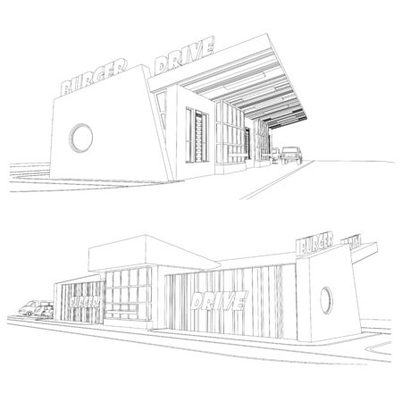 Vector set of street food burger cafe facades, detailed architectural technical drawing
