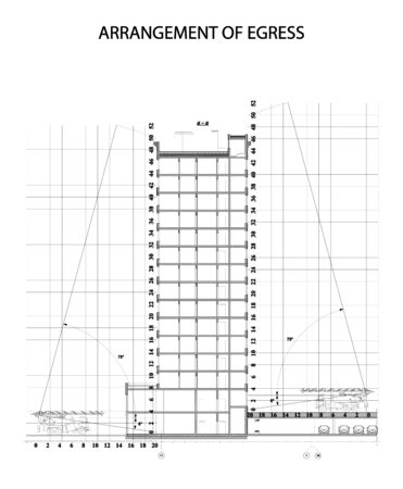 Vector illustration of arrangement egress / emergency drawing / evacuation map Vectores