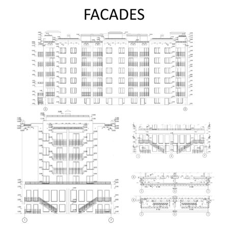 Set of detailed facade elements with measurements, architecture, vector