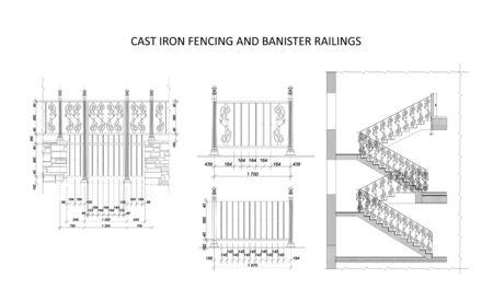 Ilustración de vector de plan arquitectónico de cercas y barandillas de hierro fundido Ilustración de vector