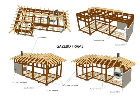 Gazebo frame with bbq grill vector illustration. Detailed architectural 3d plan