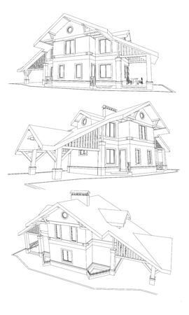 Vector set of private house facades, detailed architectural technical drawing Illustration