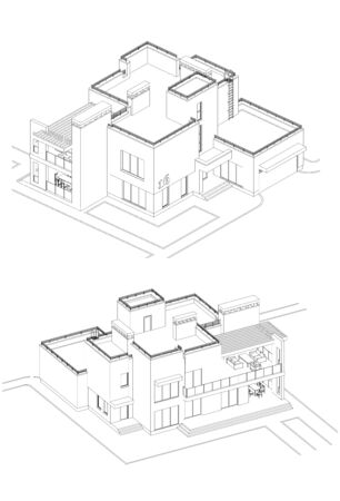 Vector set of private house facades, detailed architectural technical drawing, isometric, aerial view