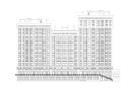 Detaillierter Architekturplan des mehrstöckigen Gebäudes mit Tiefgarage. Vektor-Blaupause. Architektonischer Hintergrund.