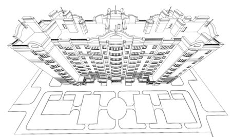 Detailed architectural plan of multistory building with diminishing perspective. Vector blueprint illustration