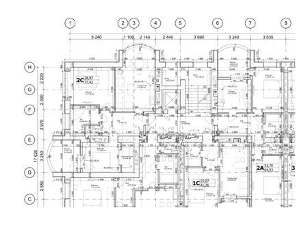 Teil eines detaillierten Architekturplans, Grundrisses, Layouts, Blaupause. Vektor-Illustration Vektorgrafik