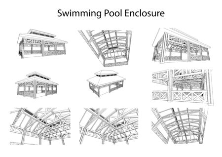 Detailed architectural 3d sketch of swimming pool enclosure from different points of view. Vector, technical industrial Ilustracja