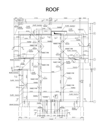 Piano architettonico dettagliato di travi e lastre del tetto, vettore