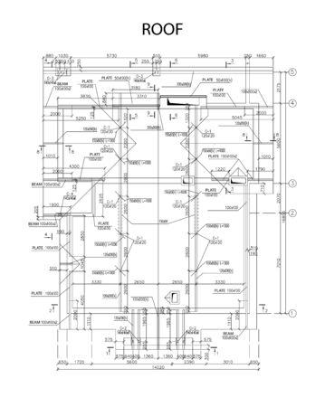 Plano arquitectónico detallado de vigas y placas de techo, vector