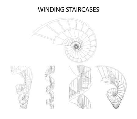 Vector set of 3d spiral winding staircases