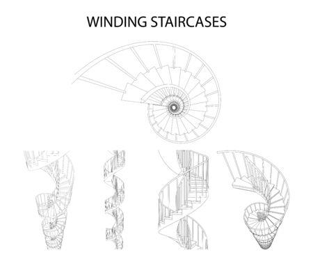 Vektor-Set von 3D Wendeltreppen Vektorgrafik