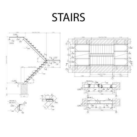Detaillierter architektonischer Plan der Treppe, Bauindustrievektor Vektorgrafik
