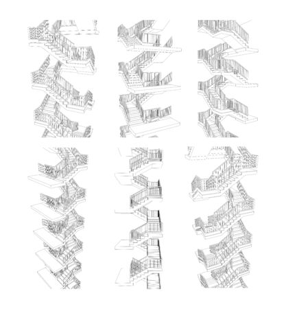 Vector set of staircases from different view points