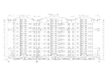 Multistory building facade and section, detailed architectural technical drawing, vector blueprint