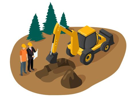 Isometric vector of an excavator digging a foundation pit for a building Vektorgrafik