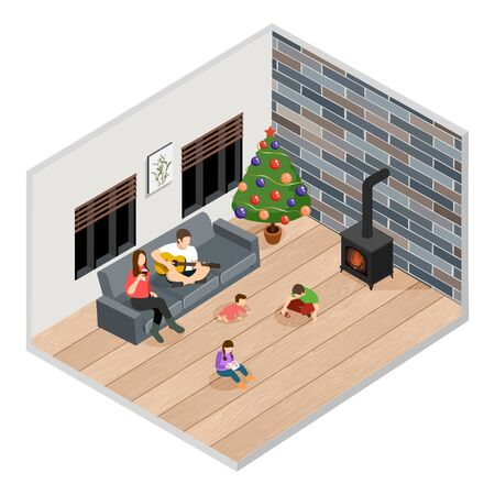 Vector isometric illustration of a caucasian family with three children at home at Christmas time Illustration