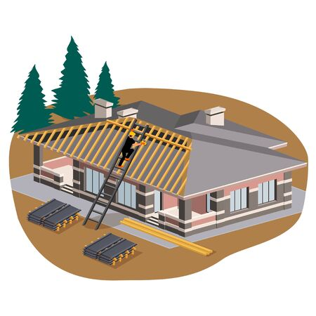 Builder covering the roof of a private house with metal tiles, vector isometric illustration Stock Illustratie