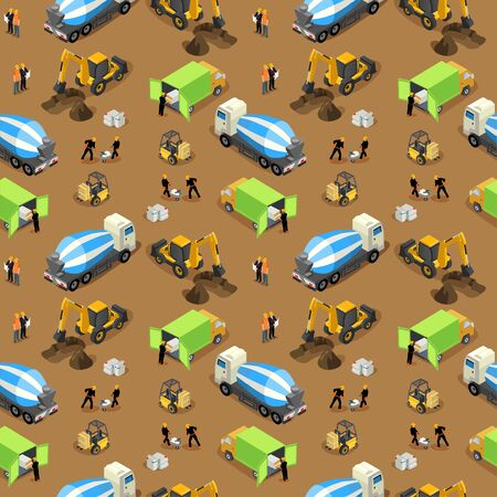 Seamless vector isometric pattern of a construction site with building machinery and equipment