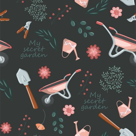 Seamless vector pattern of garden tools and plants hand drawn elements over black Illustration