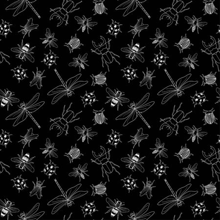 Vector seamless black and white pattern of different hand drawn doodle isolated insects 向量圖像