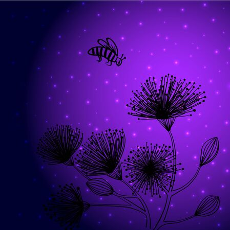 Hand drawn black imaginary flowers and a flying insect against violet starry sky. Vector illustration 向量圖像