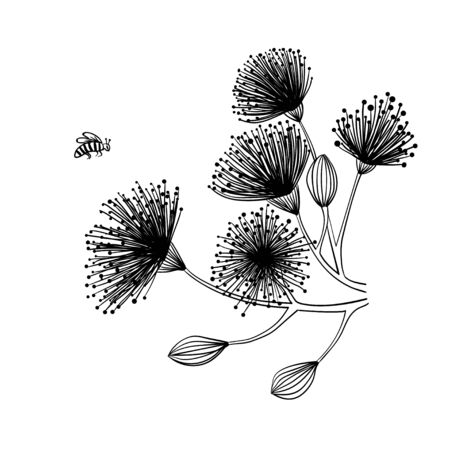 Hand drawn black and white vector illustration of imaginary graphic flowers and a flying insect