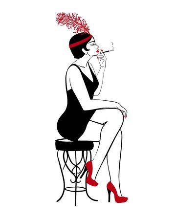 Hand drawn flapper, 1920s smoking lady, vector profile portrait