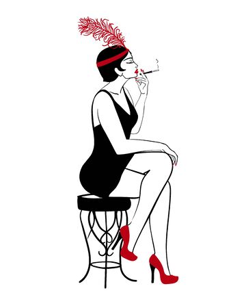 Hand drawn flapper, 1920s smoking sexy lady, vector profile portrait Illustration