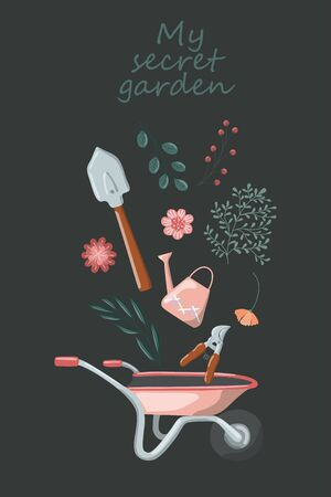 Garden tools and plants vector hand drawn design elements