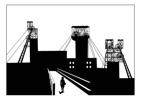 Vector silhouette illustration of a woman walking on a bridge in industrial town with coal mining structural headframes above mine shaft. Metallurgy concept
