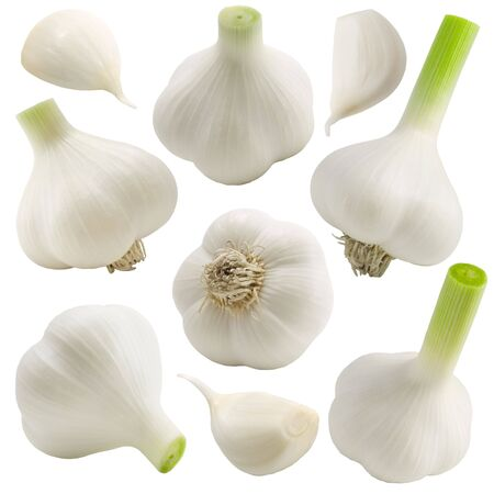 tinge: Garlic set on the white background (isolated).