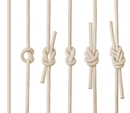Set of rope knots on white background (isolated). photo