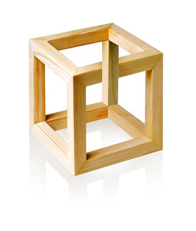 Unreal cube on white background. photo