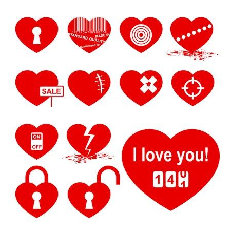 Hearts set (allegory icon). Stock Vector - 4862635