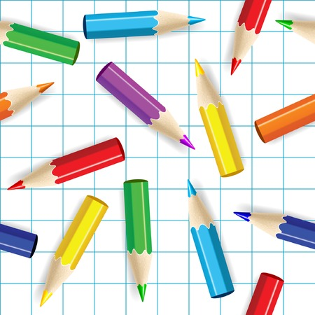 Color pencils seamless background. Vector