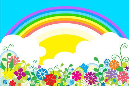 Rainbow over field. Vector