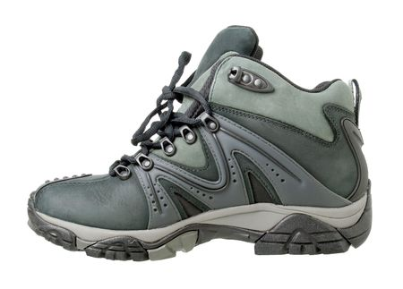 Hiking boot isolated on white background. photo