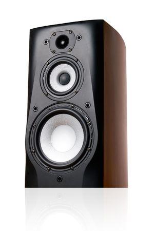 Black speaker on white background (isolated). photo