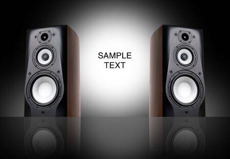 Black speakers on black background. photo