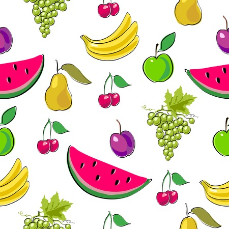 Fruits seamless background. Vector