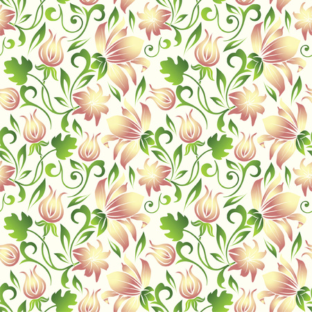 Floral vector seamless pattern. Vector