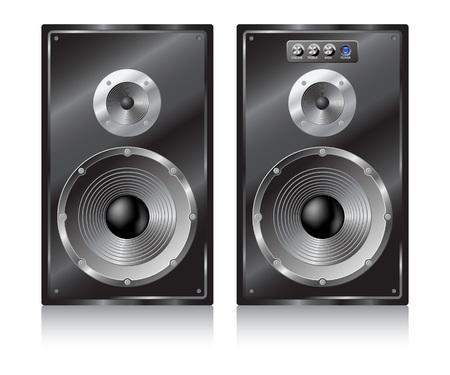 Pair black speaker on white background. Vector