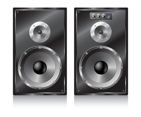 two party system: Pair black speaker on white background. Illustration
