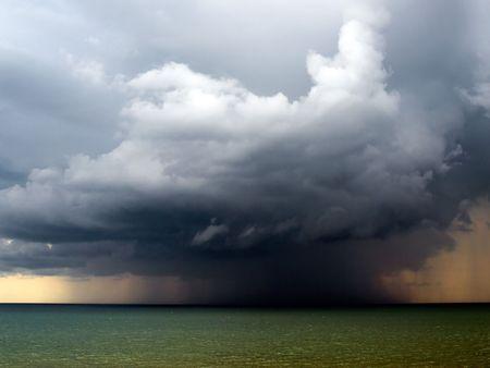 Rain over sea. photo