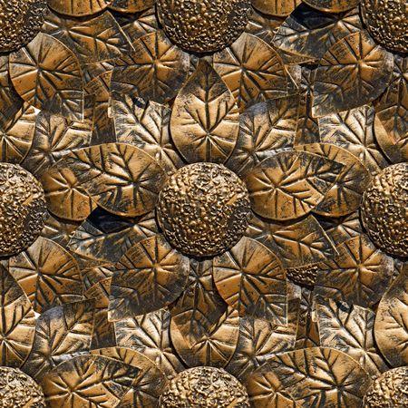coining: Seamless sunflower bronze pattern. Stock Photo