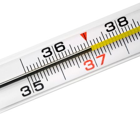 Thermometer on white background. photo